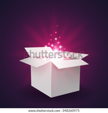 Glowing Magic open gift box with a big surprise. Vector illustration