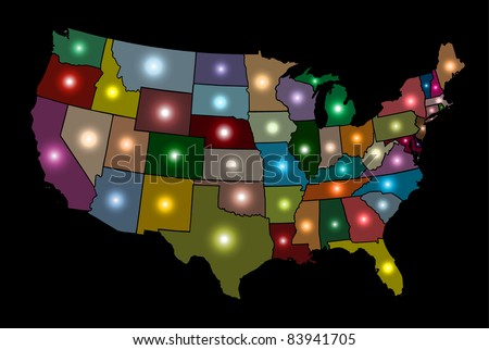 Glowing Multicolor USA Map - EPS10 Vector - stock vector