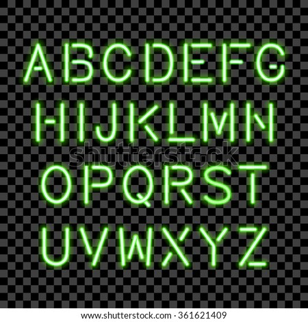 Glowing Neon Alphabet isolated and transparent. Vector eps10. - stock vector