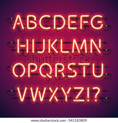 Glowing Neon Bar Alphabet. Used pattern brushes included. There are fastening elements in a symbol palette. - stock vector