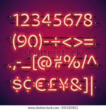 Glowing Neon Bar Numbers. Used pattern brushes included. There are fastening elements in a symbol palette. - stock vector