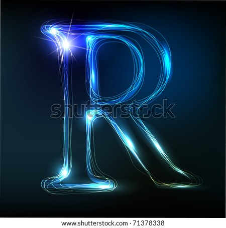 Glowing neon font. Shiny letter R - stock vector