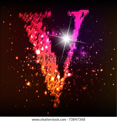 Glowing neon font. Shiny letter V - stock vector