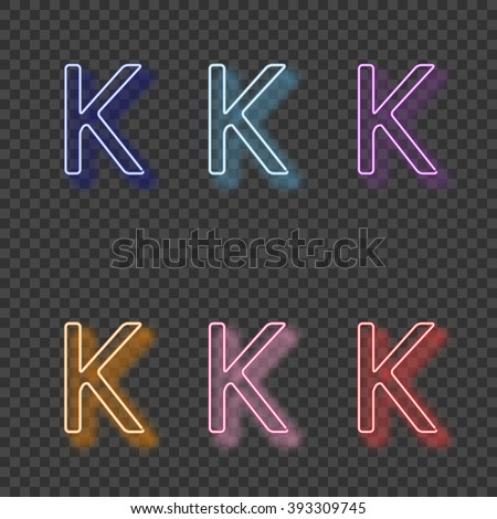 Glowing neon K letter set.