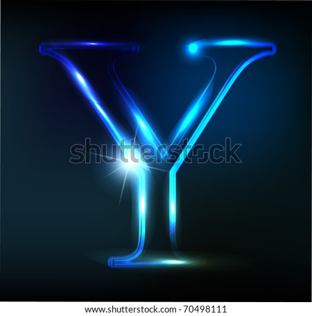 Glowing neon letter on dark background. Letter Y. - stock vector