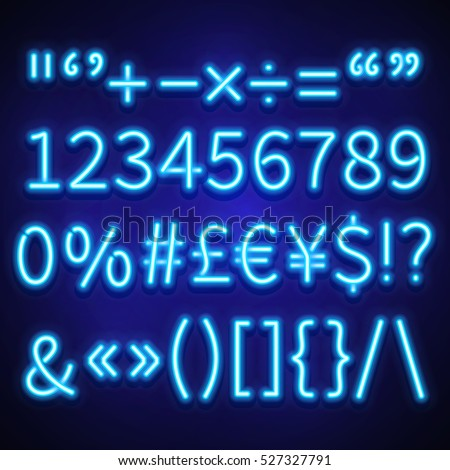 Glowing Neon Numbers Text Symbols Currency Stock Vector Hd Royalty