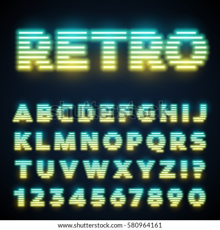 Glowing neon tube font. Retro text effect. Latin letters from A to Z and numbers from 0 to 9. Yellow to light blue gradient light.