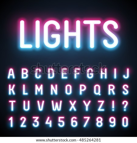 Glowing neon tube font retro text stock vector royalty free glowing neon tube font retro text effect latin letters from a to z and thecheapjerseys Gallery