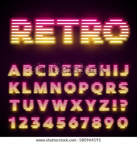Glowing Neon Tube Font Retro Text Effect Latin Letters From A To Z And