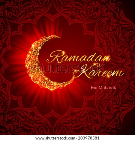 Glowing ornate crescent with floral design in dark red and golden shades. Greeting card of holy Muslim month Ramadan - stock vector