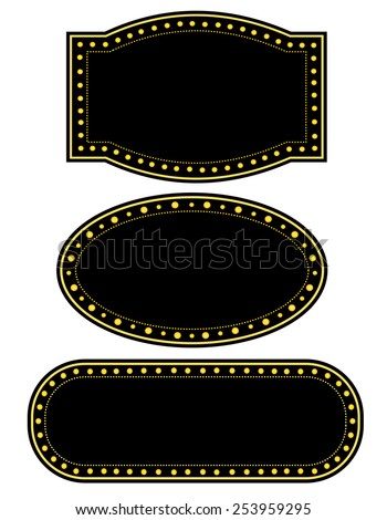 Glowing Retro Theater Marquee border / frame collection - stock vector