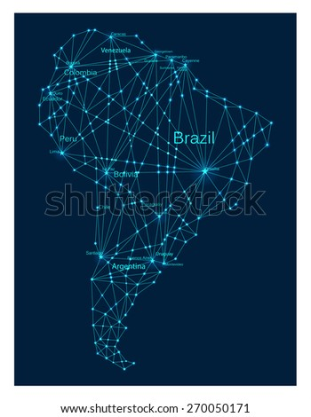 Glowing South America continent map. Molecule structure stylized design.