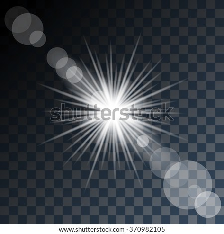Glowing Star and Light on Transparent Background. Vector illustration.
