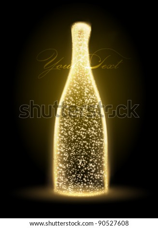 glowing vector bottle illustration - stock vector