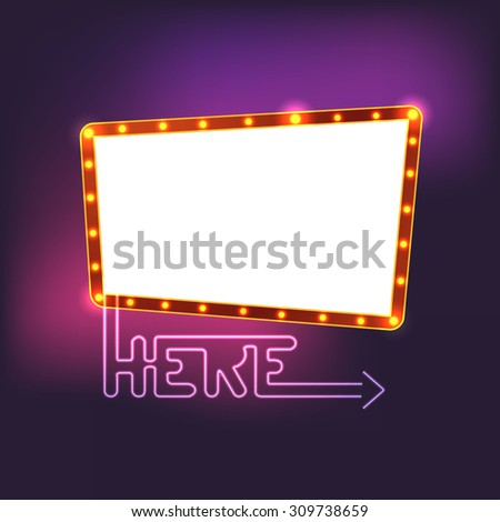 Glowing vintage board. Template for a text - stock vector