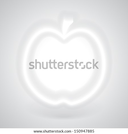 Glowing White Apple with Shadow on Gray Background, Vector Illustration EPS10