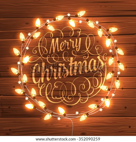 glowing white christmas lights wreath for xmas holiday greeting cards design wooden hand drawn background - Christmas Wreaths With Lights