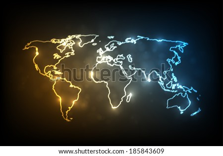 Glowing world map. Glowing outlines of continents on dark background. EPS10 vector image. - stock vector