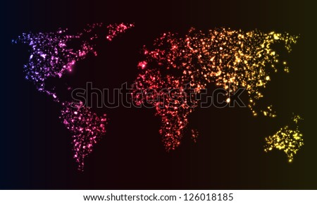 Glowing World map made of bright sparks. EPS10 vector. - stock vector