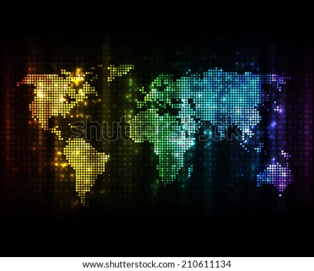 Glowing world map light effects on stock vector 210611134 glowing world map with light effects on dark background eps10 vector image sciox Image collections