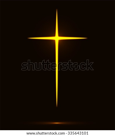 Glowing yellow Christian cross vector illustration isolated over black background. Fire cross, holy cross drawing - stock vector