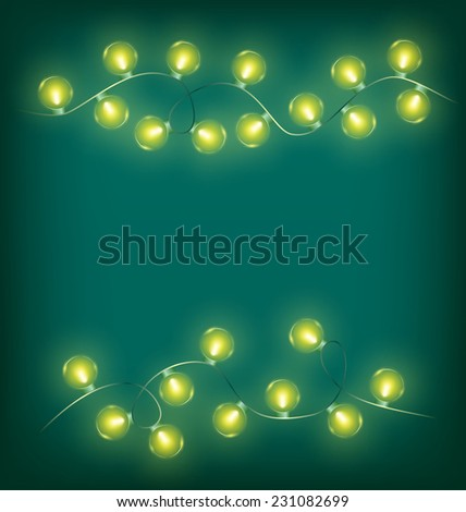 Glowing yellow twisted led Christmas lights garlands on cyan background - stock vector