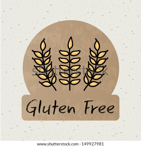 gluten free label over beige background vector illustration  - stock vector