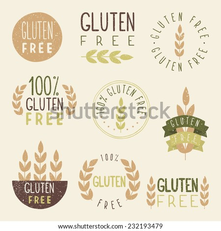 Gluten free labels. Vector EPS 10 hand drawn signs. - stock vector