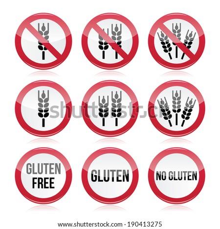 Gluten free, no gluten warning vector signs  - stock vector