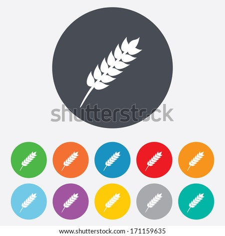 Gluten free sign icon. No gluten symbol. Round colourful 11 buttons. Vector - stock vector