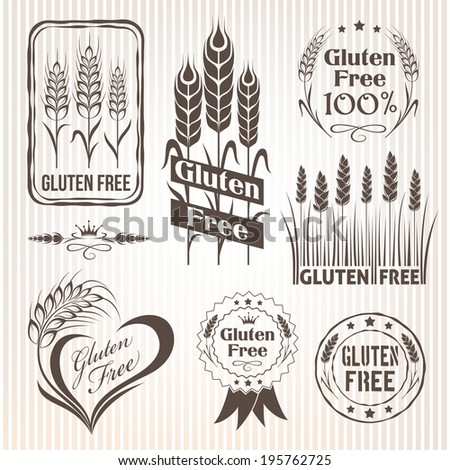 Gluten free stamps. Color version. - stock vector