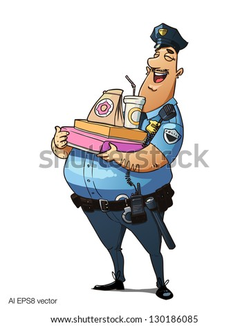 Glutton police officer with donuts and other fast food. Happy fat policeman holds fast-food. Vector illustration isolated on white background. - stock vector