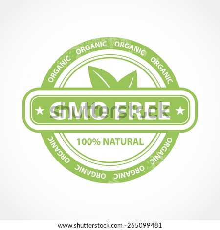 Gmo free organic and natural product logo or icon in green color design