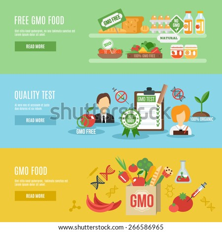 Gmo horizontal banner set with food quality test flat elements isolated vector illustration - stock vector