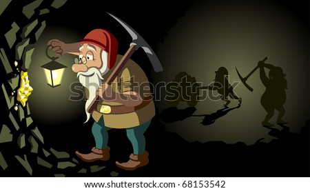 Gnomes in search of gold - stock vector
