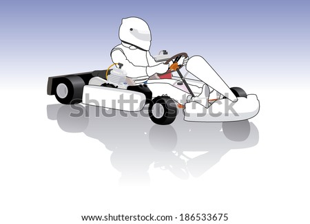 go cart carting racing race go-karts - stock vector