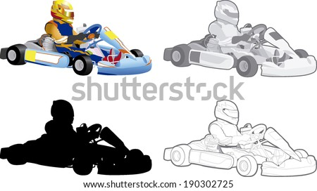 go cart carting racing race karts  - stock vector