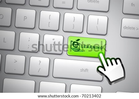 Go e-learning click. The whole keyboard is available behind the clipping path. - stock vector