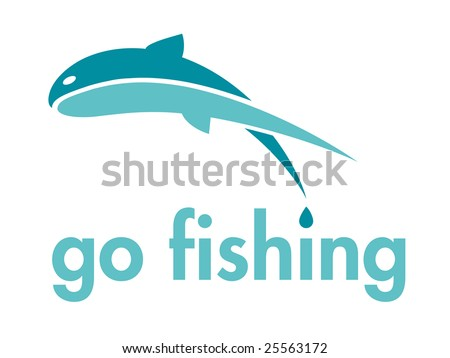Go Fishing Themed Vector Design Element - stock vector