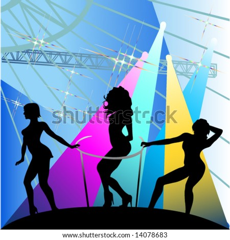 Go-go girls.Silhouettes of females dancing - stock vector