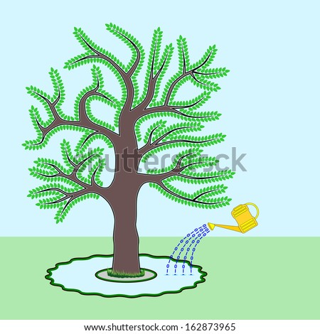 Go Green - A Go Green concept where a tree is shown being watered by electronic documents symbolized by binary zeroes and ones. Message is to save trees by using electronic documents instead of paper. - stock vector