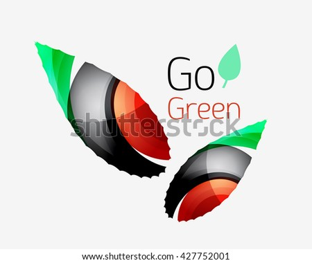 Go green abstract nature logo. Vector illustration