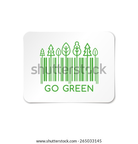 Go Green, barcode stickers  - stock vector