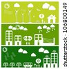 Go green city banners. Industry sustainable development with environmental conservation background illustration. Vector file layered for easy manipulation and custom coloring. - stock photo