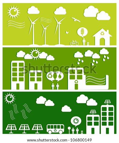 Go green city banners. Industry sustainable development with environmental conservation background illustration. Vector file layered for easy manipulation and custom coloring. - stock vector