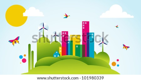 Go green city in spring time. Industry sustainable development with environmental conservation background illustration. Vector file layered for easy manipulation and custom coloring. - stock vector