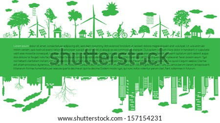 Go green city. Industry sustainable development with environmental conservation background illustration - stock vector