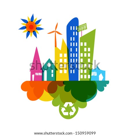 Go green colorful city. Industry sustainable development with environmental conservation background illustration. Vector file layered for easy editing. - stock vector