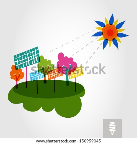 Go green colorful city sun, solar panels and trees. Industry sustainable development with environmental conservation background illustration. Vector file layered for easy editing. - stock vector
