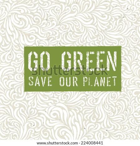 Go Green Concept Poster - stock vector